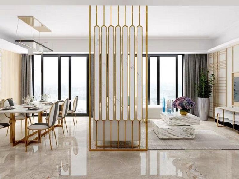 Nhà đẹp nhờ nội thất inox mạ vàng
